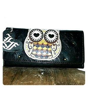 loungefly owl vegan wallet nwt
